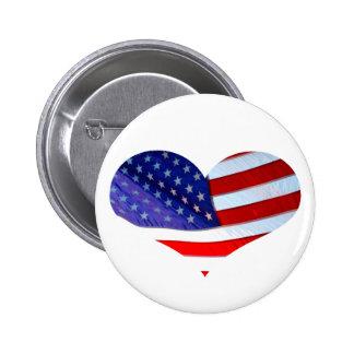 American Flag Heart Button