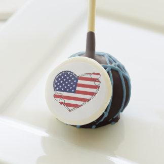 American Flag Heart Cake Pops