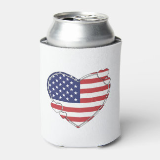 American Flag Heart Can Cooler