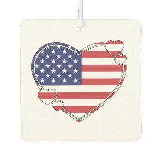 American Flag Heart Car Air Freshener