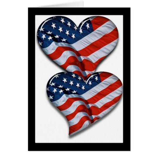 American Flag Heart Card