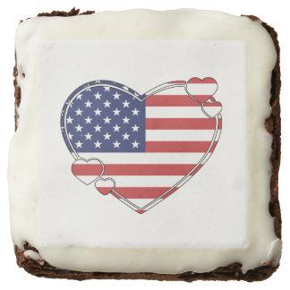 American Flag Heart Chocolate Brownie