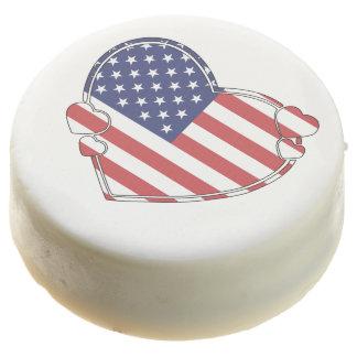 American Flag Heart Chocolate Covered Oreo