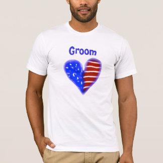 American flag heart customized groom's t-shirt
