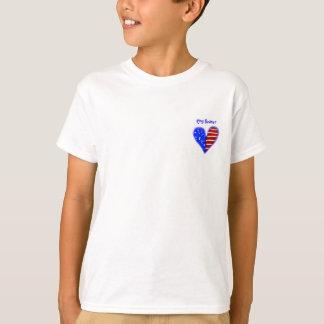 American flag heart customized ring bearer's shirt