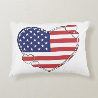 American Flag Heart Decorative Pillow