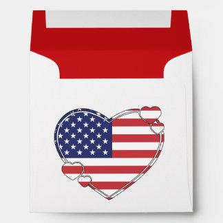 American Flag Heart Envelope