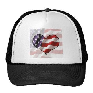 American Flag Heart Trucker Hat