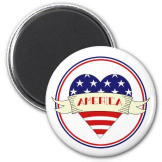 American Flag Heart Magnet