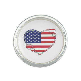 American Flag Heart Photo Ring