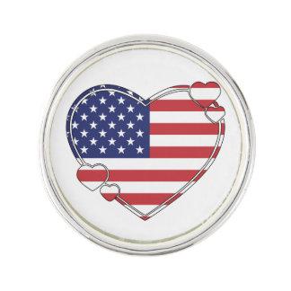 American Flag Heart Pin