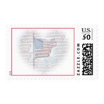 American Flag Heart Postage