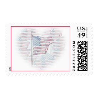American Flag Heart Postage