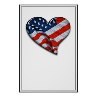 American Flag Heart Poster