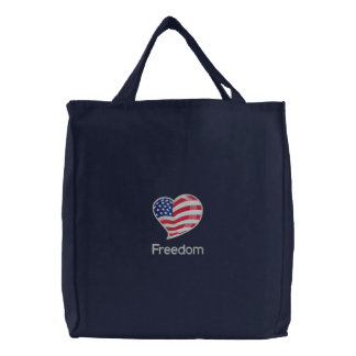 American Flag Heart Red White Blue Embroidered Tote Bag