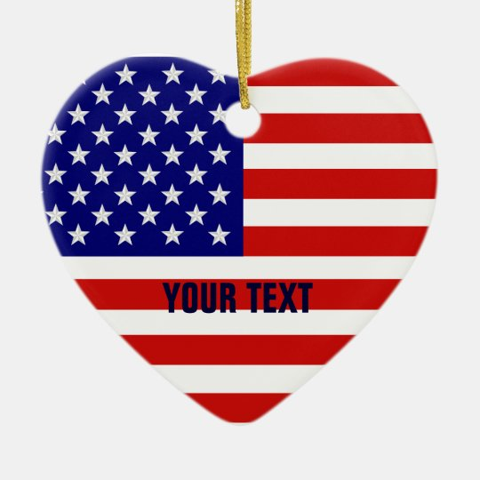 American Flag Heart Shape Christmas Ornament
