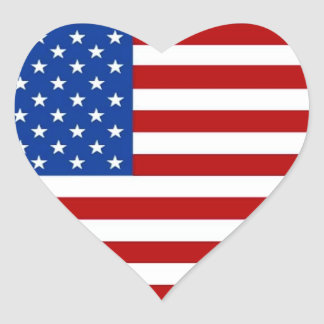 AMERICAN FLAG HEART-SHAPED STICKERS red white blue