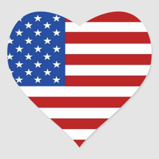 American Flag Heart Shaped Stickers Red White Blue Zazzlecom