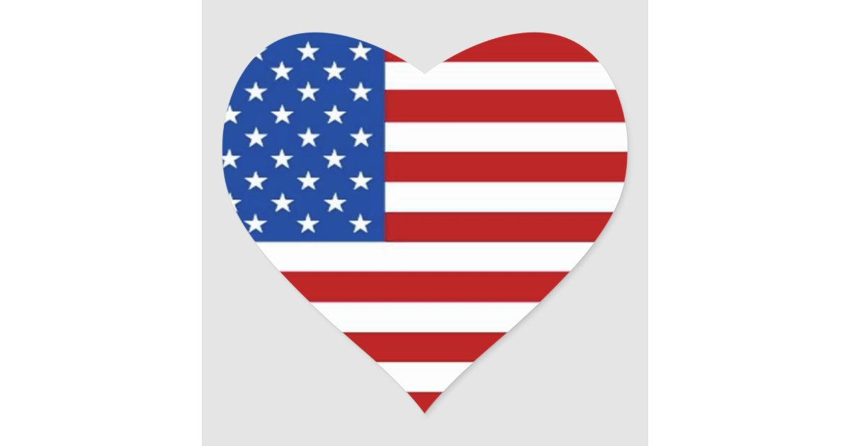 AMERICAN FLAG HEART SHAPED STICKERS Red White Blue Zazzle