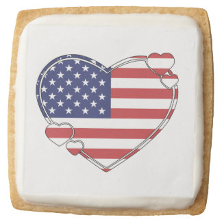 American Flag Heart Square Shortbread Cookie