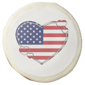 American Flag Heart Sugar Cookie