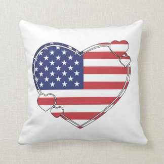 American Flag Heart Throw Pillow