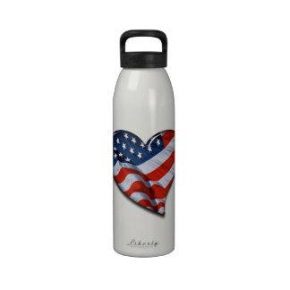 American Flag Heart Water Bottle
