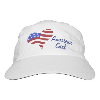 American Flag Heart - Woven Performance Hat, White Headsweats Hat