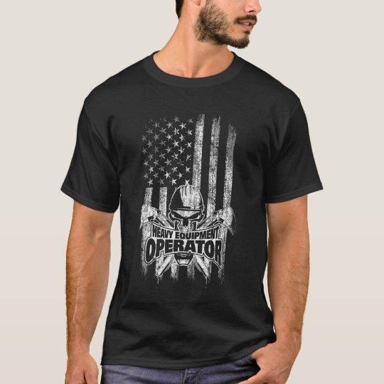39ccb3f2 American flag Heavy Equipment Operator Skull T-Shirt   Zazzle.com