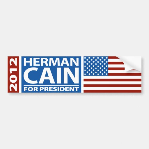American Flag Herman Cain for President 2012 Bumper Stickers