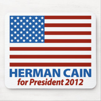 American Flag Herman Cain for President 2012 Mouse Pad