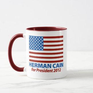 American Flag Herman Cain for President 2012 Mug