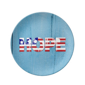 American Flag Hope Porcelain Plate