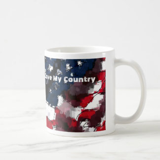 American Flag, I Love My Country Coffee Mug