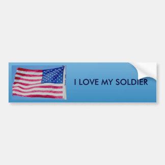 American Flag I Love My Soldier Bumper Sticker