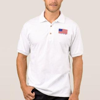 American Flag I Love the USA Mens Polo