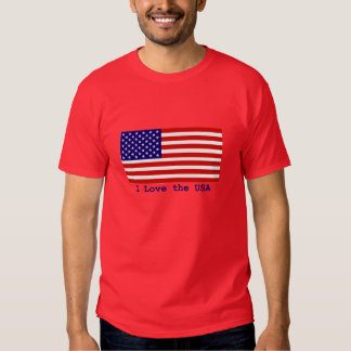 American Flag I Love the USA Mens Red T-shirt