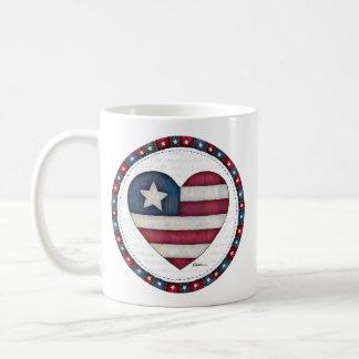 American Flag in a Heart Coffee Mug