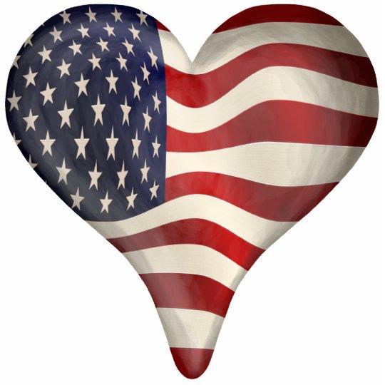 American Flag In A Heart Cutout