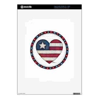 American Flag in a Heart iPad 2 Decal