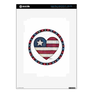 American Flag in a Heart Skins For iPad 3