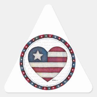 American Flag in a Heart Triangle Sticker