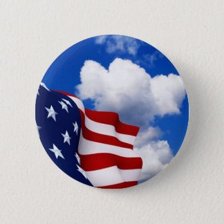 American Flag in blue skies Button