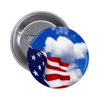 American Flag in blue skies Pinback Button