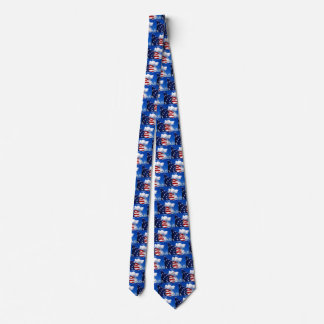 American Flag in blue skies Neck Tie