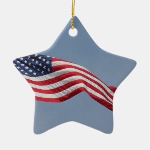 American flag in blue sky christmas ornament zazzle