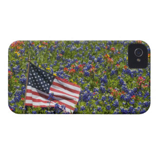 American Flag in field of Blue Bonnets, 2 iPhone 4 Case