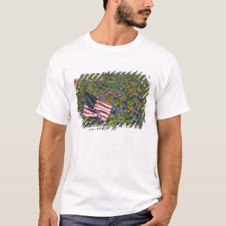 American Flag in field of Blue Bonnets, 2 T-Shirt