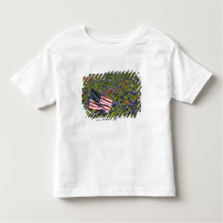 American Flag in field of Blue Bonnets, 2 Toddler T-shirt
