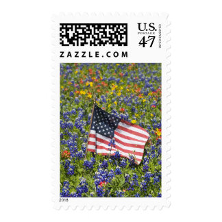 American Flag in field of Blue Bonnets, Postage
